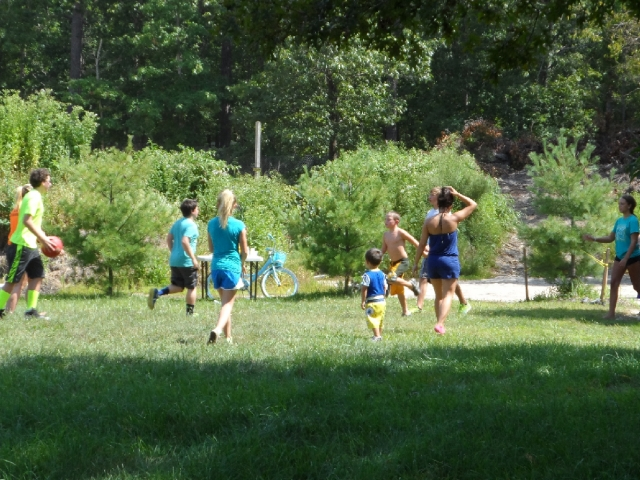Kids at play in the Ball Field at Baker's Acres Campground