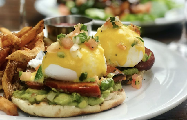 Eggs Benedict at Anthony David's in Hoboken, New Jersey