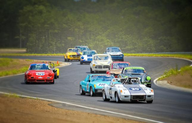 Cars racing on the track in New Jersey