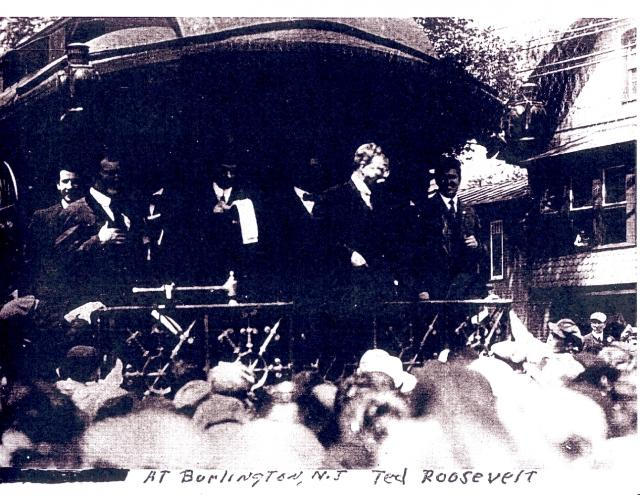 Teddy Roosevelt makes a whistle stop in Burlington during his 1912 presidential campaign.