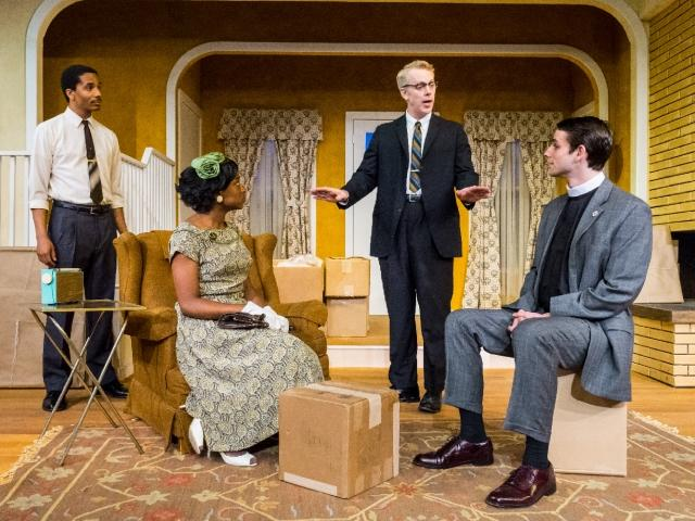 Samuel Stricklen, Brett Robinson, Tim McGeever & Dustin Fontaine in Bruce Norris' Clybourne Park at Premiere Stages (2013). Photo by Mike Peters.