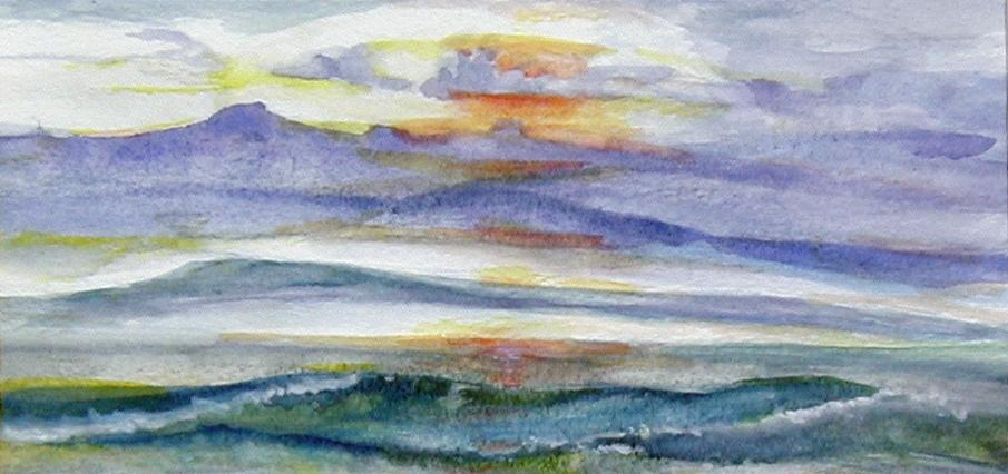 """""""Sunrise Above the Clouds,"""" Watercolor M. McAneny S."""