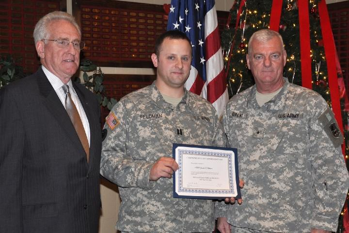 CPT Jarrett Feldman, oral history O.I. F. participant is recognized by BG(Ret) Jeffrey Pierson and General James Grant