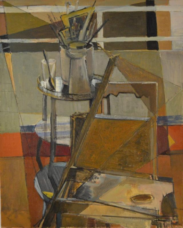 "Marguerite Louppe ""Chairs Brushes and Palette"" undated oil on canvas"