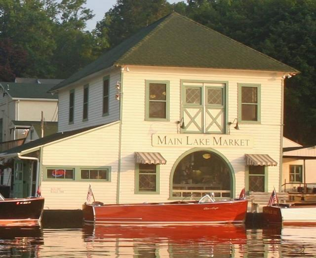 Main Lake Market with one of Lake Hopatcong's Antique Wooden Boats