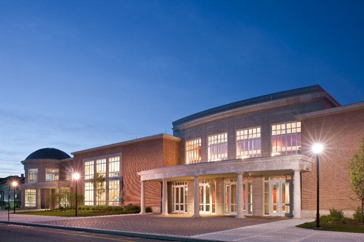 The Lackland Center, home of the Centenary Stage Company, by evening light.