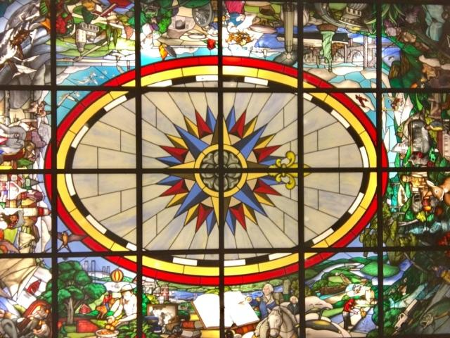 New Jersey - A 360˚ View, by Kenneth Leap (1995) Painted glass skylight.  Different sections of the map depicts the folklore, legends, and attractions and celebrate New Jersey's rich and varied geography and history.