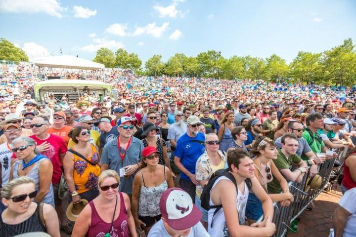 Concertgoers enjoying WXPN's XPoNential Music Festival on the Camden, NJ riverfront.