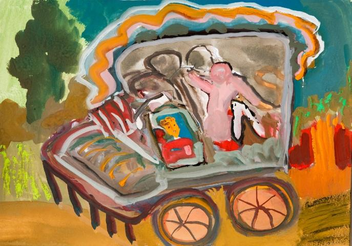 """""""IN THIS BROKEN DOWN CART WE GO TO THE NEW LAND. NOTHING CAN STOP US!"""" By Bascha Mon"""