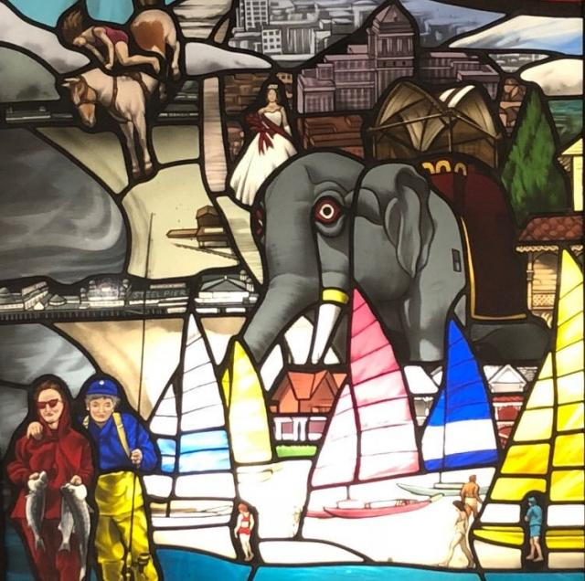 """""""New Jersey: A 360 Degree View"""", stained glass, by J. Kenneth Leap"""