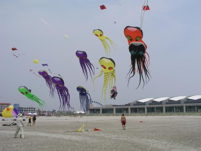 Beautiful kites in the air on the Wildwood beach.