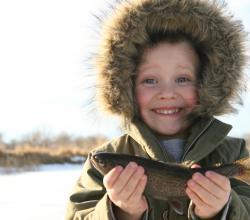 Child ice fishing